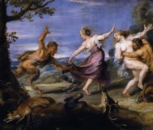 Diana and her Nymphs Surprised by the Fauns (detail-1) 1638-40