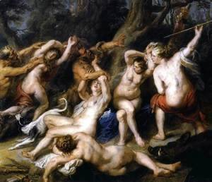 Rubens - Diana and her Nymphs Surprised by the Fauns (detail-2) 1638-40