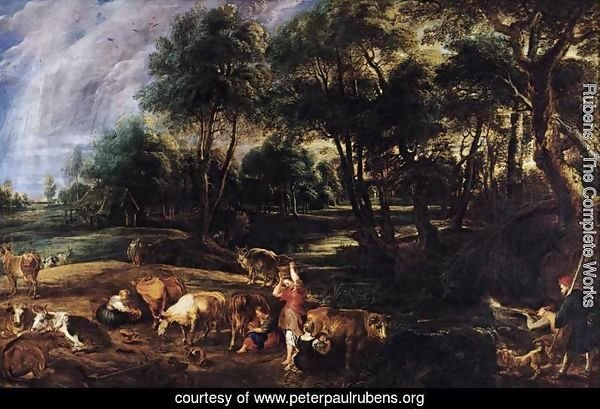 Landscape with Cows and Wildfowlers c. 1630