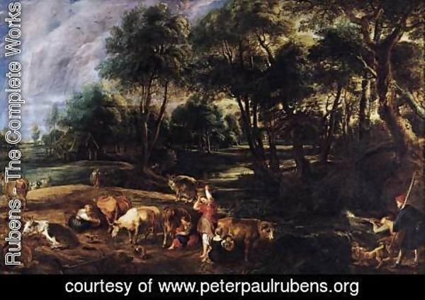 Rubens - Landscape with Cows and Wildfowlers c. 1630
