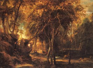 Rubens - A Forest at Dawn with Deer Hunt