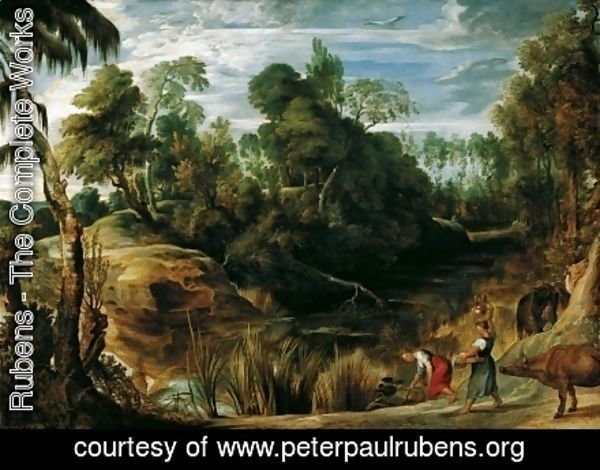 Rubens - Landscape with Milkmaids and Cows 1616