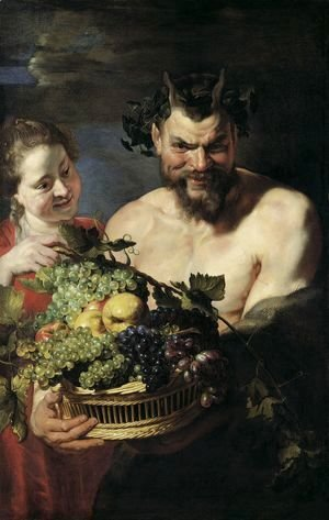 Rubens - Satyr and Maid with Fruit Basket 1615