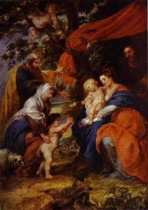 The St Ildefonso Altar (Outer Wings) The Holy Family Under The Apple Tree 1630-1632