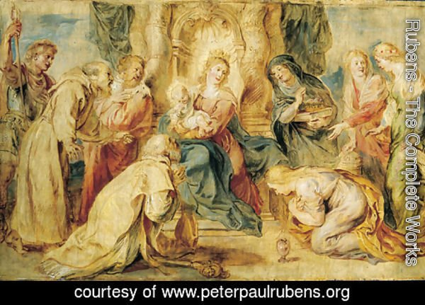 The Virgin and Child enthroned adored by eight Saints