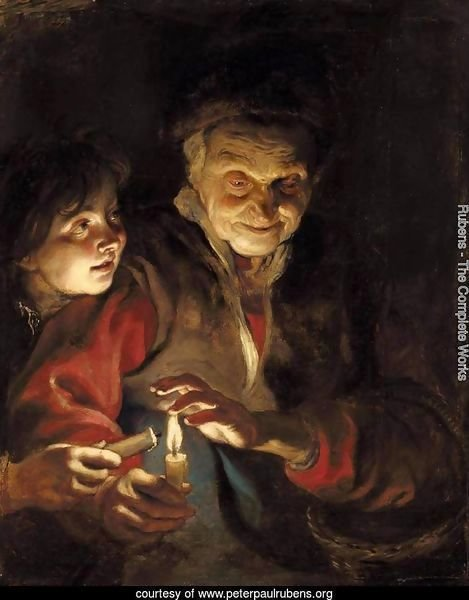 A Night Scene With An Old Lady Holding A Basket And A Candle, A Young Boy At Her Side About To Light His Candle From Hers