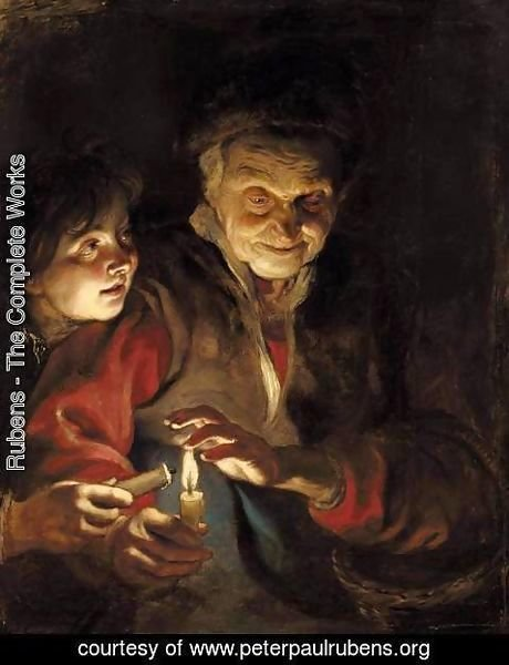 Rubens - A Night Scene With An Old Lady Holding A Basket And A Candle, A Young Boy At Her Side About To Light His Candle From Hers
