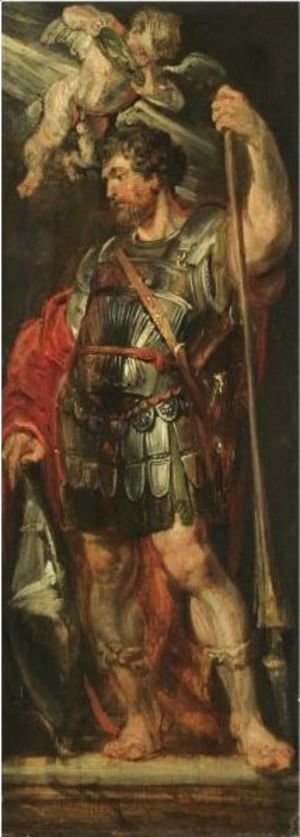 Rubens - Study Of A Roman Hero Or Martyr Holding A Lance, Possibly Longinus