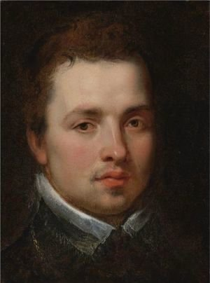 Rubens - Portrait Of A Young Man Bust-Length, In A Black Doublet With A White Lace Collar