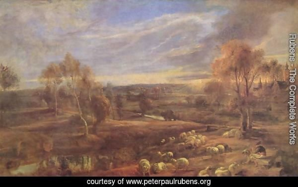 Evening Landscape with sheep and herd