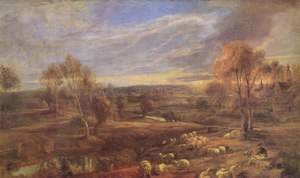 Rubens - Evening Landscape with sheep and herd