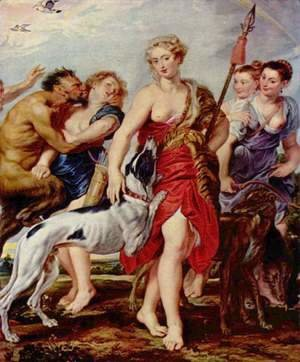 Diana with Nymphs, the departure of the hunting Diana