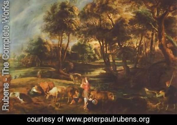 Rubens - Landscape with cows and ducks hunters