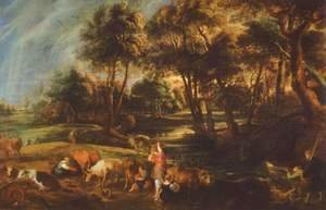 Landscape with cows and ducks hunters