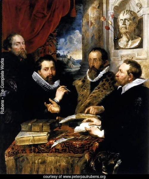 Selfportrait with brother Philipp, Justus Lipsius and another scholar