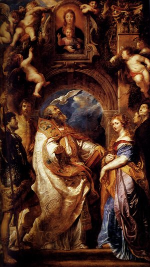 Rubens - Saint Gregory With Saints Domitilla  Maurus And Papianus